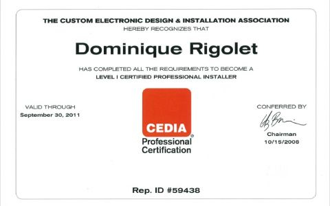 Level I certified professional Installer CEDIA
