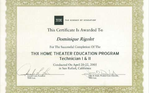 THX Home Theater Education Program Technician I & II
