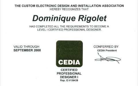 Level I certified professional Designer CEDIA